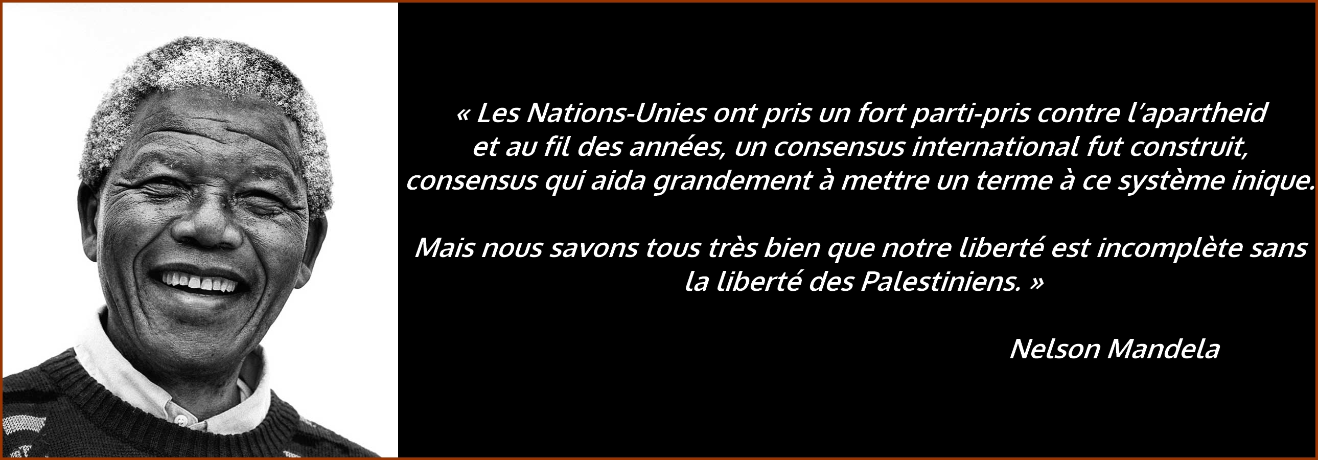 Nelson Mandela : citation sur la Palestine